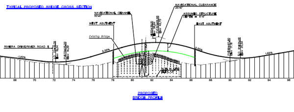 Bridge cross section showing the proposed marine clearance.
