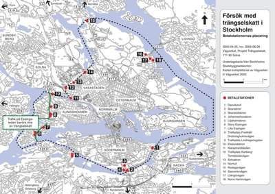 A map of the 18 congestion charge gates around Stockholm.