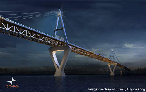 The bridge was built by the Deh Cho Bridge Corporation in collaboration with Government of Northwest Territories (GNWT) Department of Transportation. Image courtesy of Infinity Engineering.