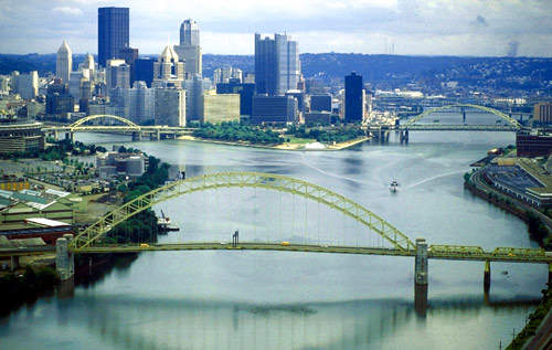 The upstream river in Pittsburgh