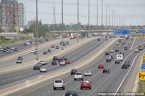 A collector-express roadway configuration of Highway 401.
