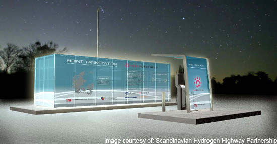 Six hydrogen stations will be opened in Denmark in June 2008 for the first stage of the project.