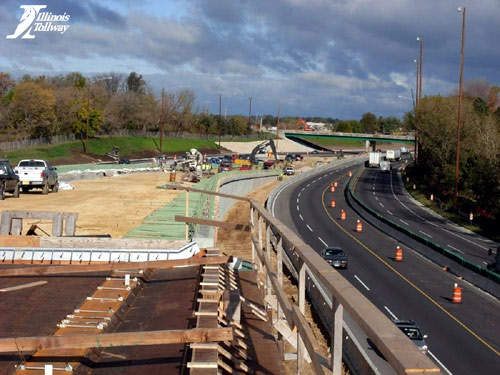 A wall is being constructed at the Cherry Valley Interchange as part of its reconstruction and reconfiguration.