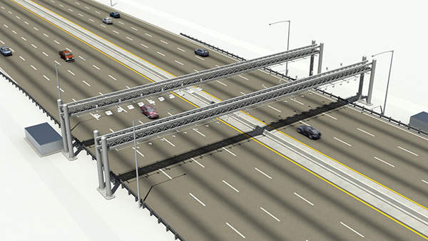 Artist rendering of the toll road gantry that is installed as part of ERTP.