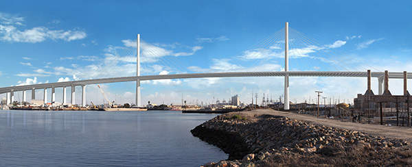 The new bridge will have a higher vertical clearance of 200ft to allow ships to enter the port. Image courtesy of the Port of Long Beach.