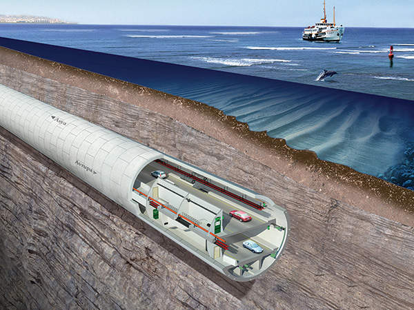 The tunnel was constructed 25m underneath the seabed.