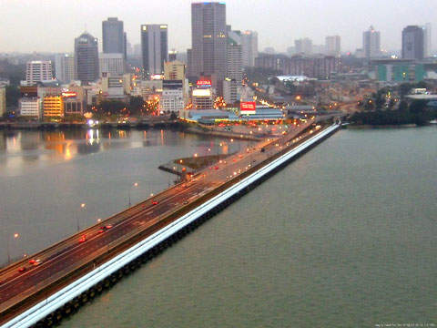 Johor Bahru City in the background is also connected to Singapore via this causeway. The bridge across the Johor River will now help to integrate transport infrastructure in the area and aid the economy.