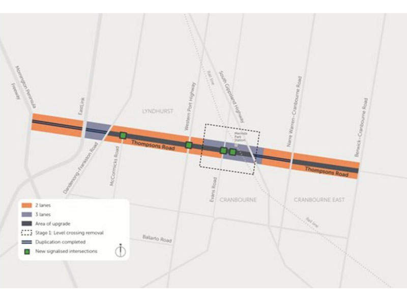 Stage one of the project involved the removal of the level crossing on the Cranbourne railway line. Image courtesy of VicRoads.