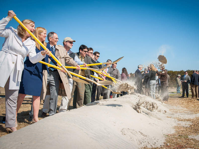 The ground breaking ceremony for the new Bonner Bridge at North Carolina. Image courtesy of NCDOTcommunications.
