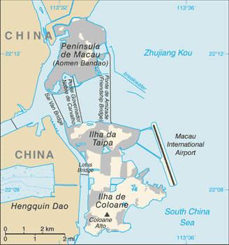 Map of Macau, China.