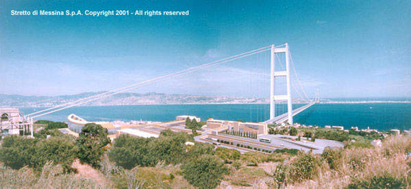 A computer-generated image of the Messina Straits Bridge, viewed from the mainland.