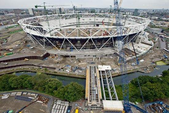 An aerial image of the first of the five bridges to be installed around the Olympic Stadium.