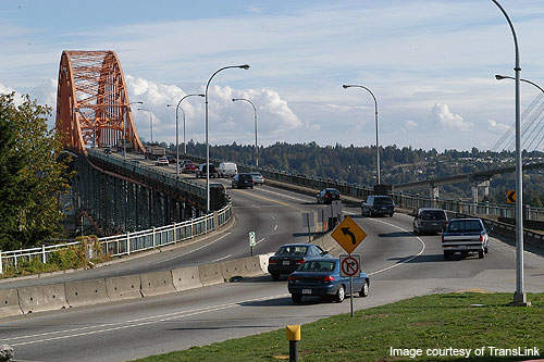 The bridge links the cities of Surrey and New Westminster.