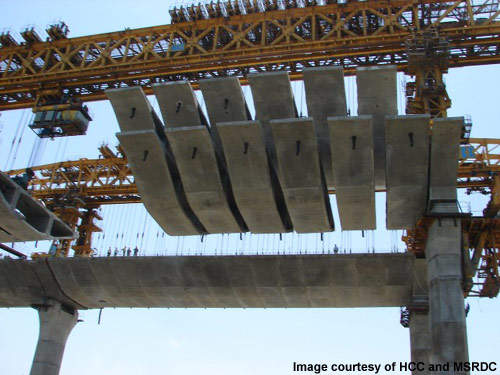 Pre-cast segments being lifted into place on the Bandra Cable-Stay Bridge.