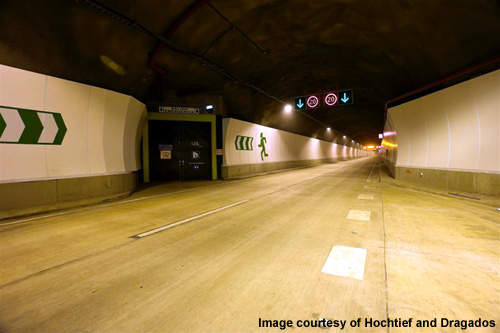 The tunnel has escape exits and refuges at regular intervals along its length.