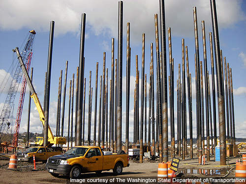 Pile driving works at the pontoons construction site.