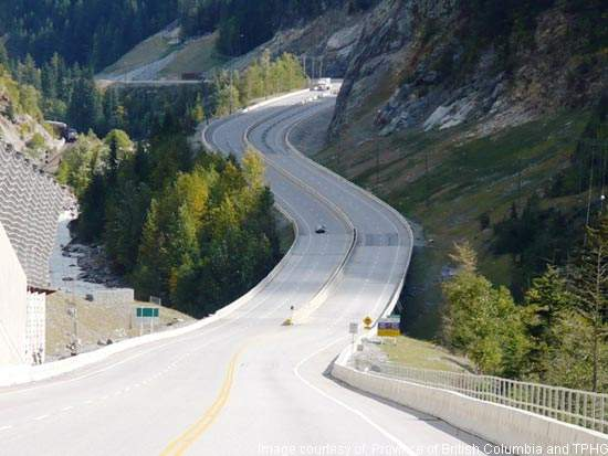 The Yoho Bridge was replaced in Phase 1 of the Kicking Horse Canyon upgrading project.