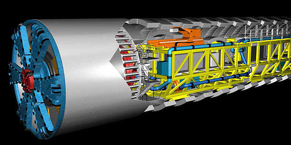 The Westerschelde tunnel boring machines (TBM) worked for 24 hours a day, six days a week to meet construction targets.