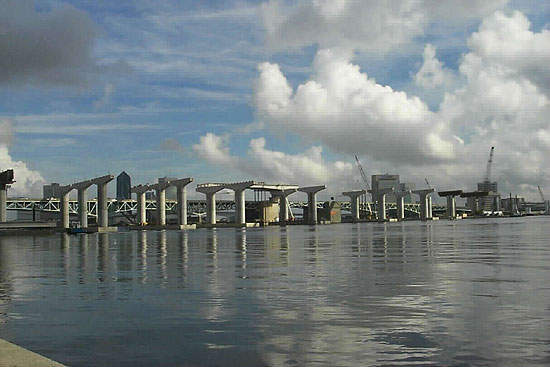 A view of the Fuller Warren bridge from the water