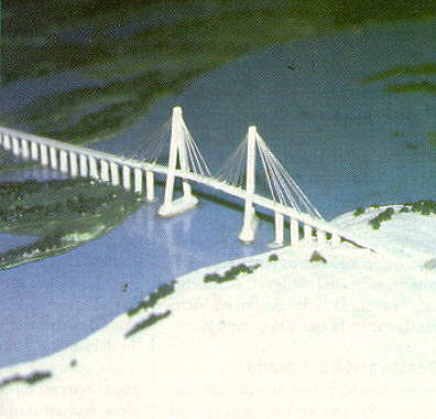 The main span of the cable-stayed bridge is 330m, with two lateral spans of 120m.