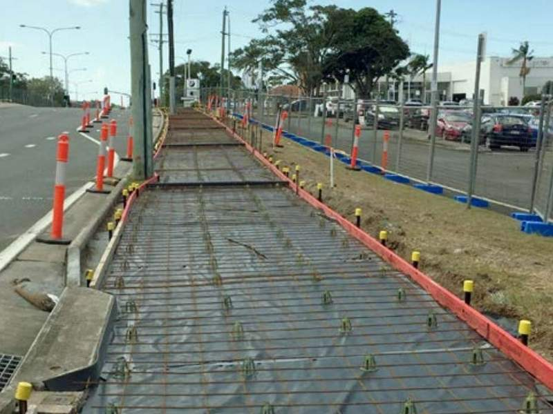 Works on the pedestrian footpath in the northern section were completed. Image courtesy of the Department of Transport and Main Roads, Queensland Government.