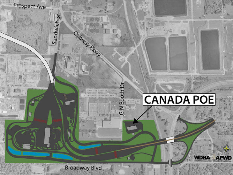 The Canadian port of entry (POE) will have border inspection facilities for passenger and commercial vehicles. Image courtesy of the Windsor-Detroit Bridge Authority.