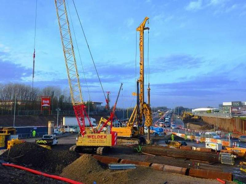 Piling works for the improvement project are being carried out in two phases. Image courtesy of Bauer Technologies Ltd.