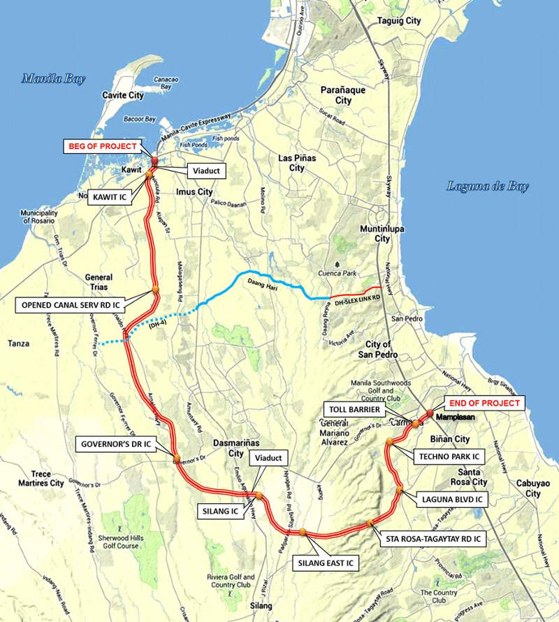 The Cavite-Laguna Expressway will connect South Luzon Expressway to the Manila-Cavite Coastal Road.
