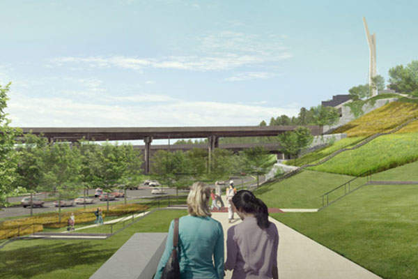 Approximately 31.5ha of green space will be developed as part of the project. Image: courtesy of Québec Ministry of Transportation.