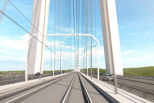 The bridge consists of a dual four-lane motorway and two high-speed railway tracks. Image: courtesy of ICA (IC İçtaş Construction).