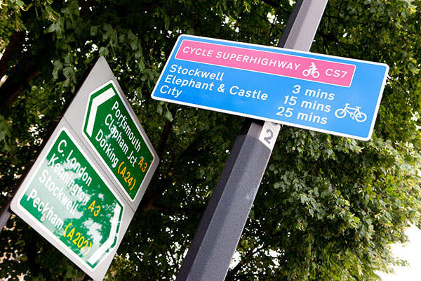 Each Cycle Superhighway includes sign boards giving information of journey times. Image: courtesy of Transport for London.
