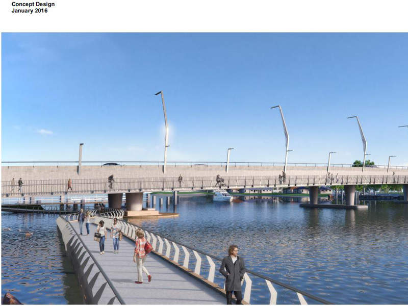 The new Mandurah Bridge includes four lanes and a 5m-wide shared path walkway. Image courtesy of Government of Western Australia.