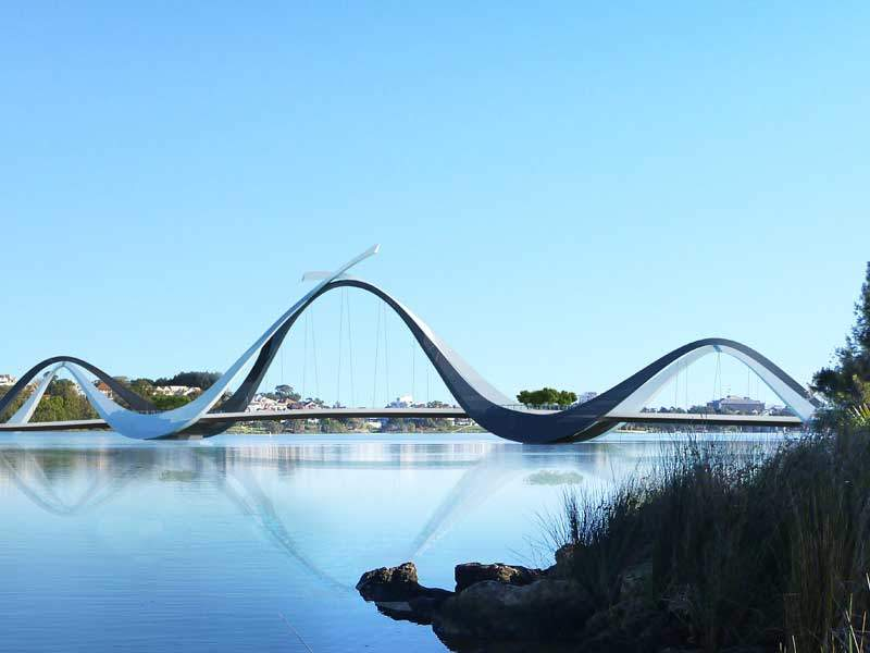 The steel cable-stay span bridge on Swan River has a length of 370m. Image courtesy of Perth Stadium.