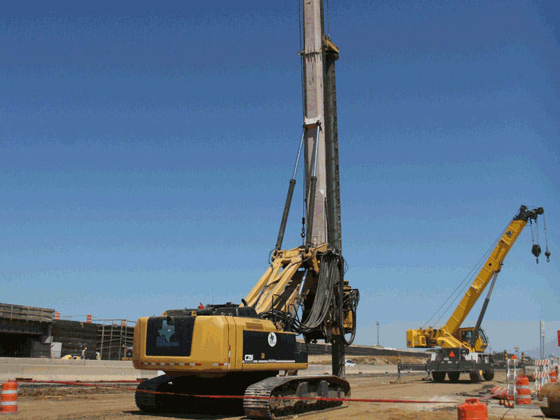 Drill shafts as deep as 120ft are being drilled for the 35Express project. Image courtesy of AGL Constructors.