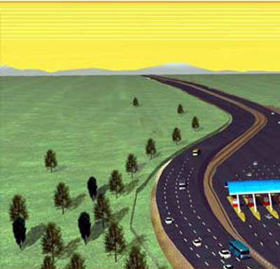 CAD representation of a section of the expressway showing a toll plaza and two four-lane expressways.