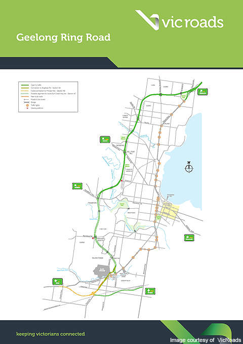 A route map showing the sections of the Geelong Ring Road.