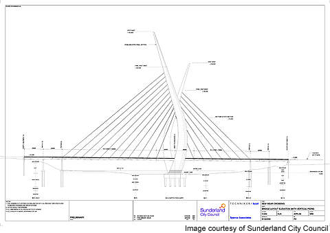Diagram showing the technical aspects of the New Sunderland Bridge.