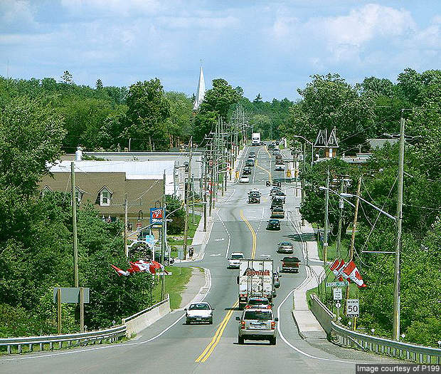 Highway 7 passing through Marmora, Ontario.