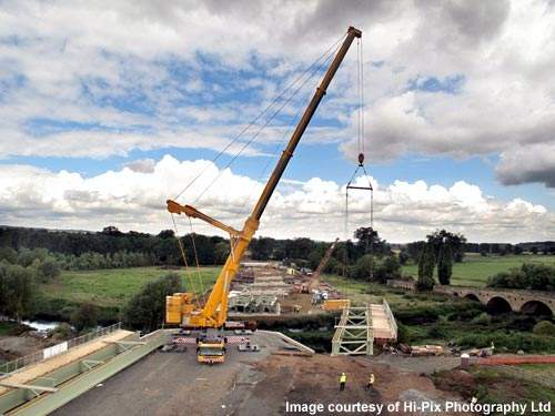Ainscough Crane Hire helped to construct the four-span steel beam and concrete deck bridge crossing over the River Avon.