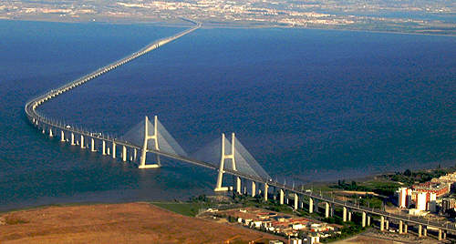 The Vasco da Gama Bridge is a cable-stayed bridge that traverses the River Tagus, near Lisbon in Portugal.