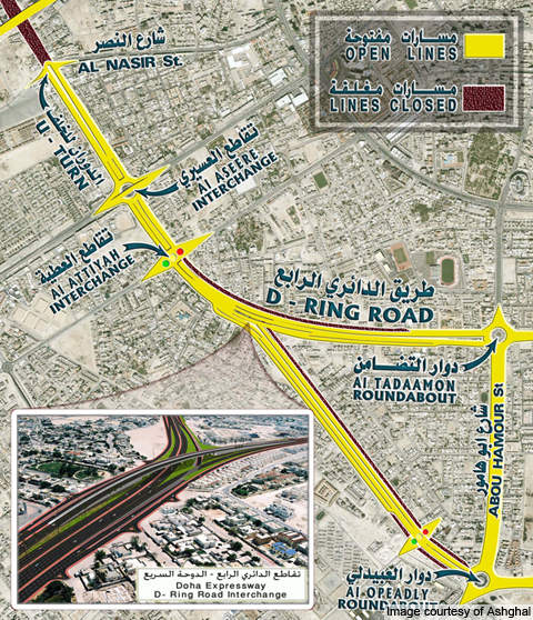 D Ring Road service roads.