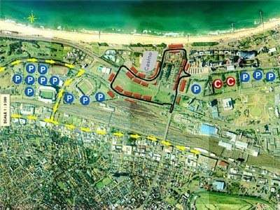 This shows the extent of Durban and where car parks are situated to alleviate the strain on street parking.