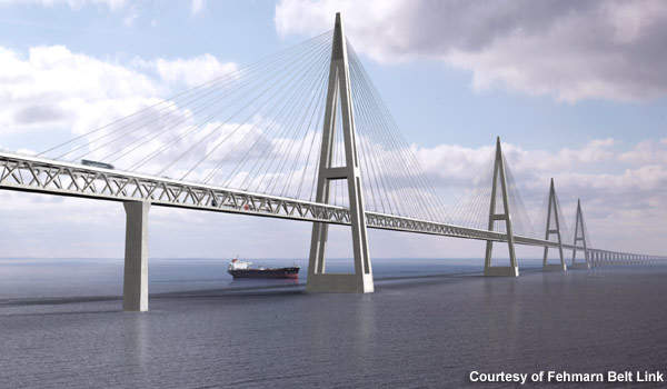 Computer image of a cable-stayed bridge across Fehmarnbelt.