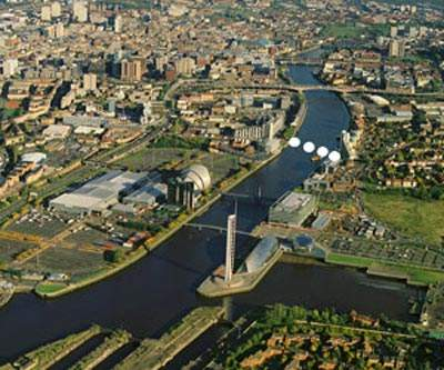 Aerial view of where the Finnieston Bridge will cross the River Clyde.