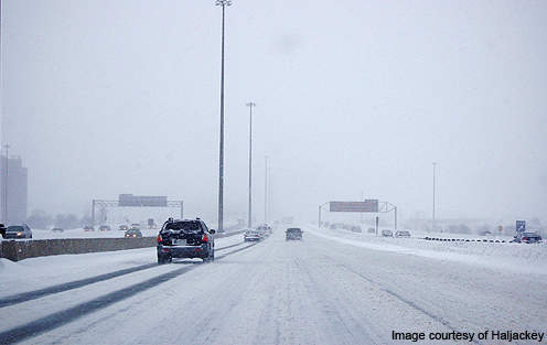 Highway 401 during the winter snow fall.