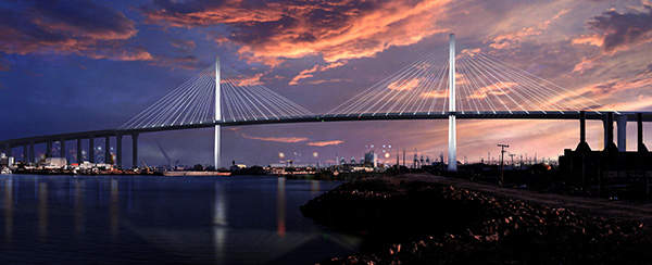 Construction of the new bridge began in January 2013. Image courtesy of the Port of Long Beach.