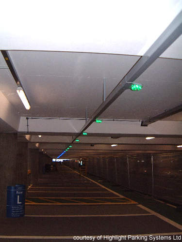 Each of the 3,800 spaces has a sensor and light.