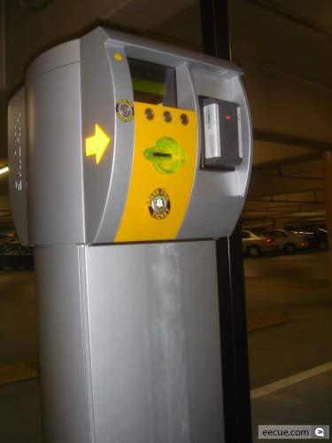 A Skidata mechanised parking attendant.