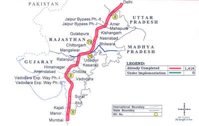 The route of the NH-8 of which the Delhi to Gurgaon expressway is part.