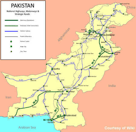 Map of Pakistan's road network.